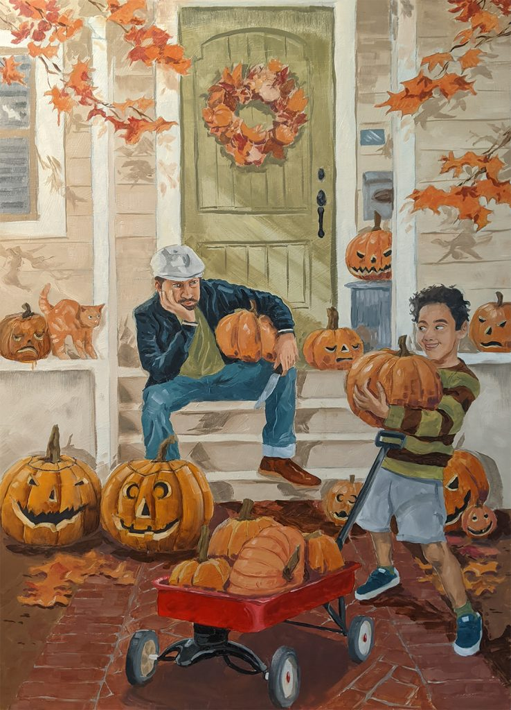 OCTOBER oil painting Halloween